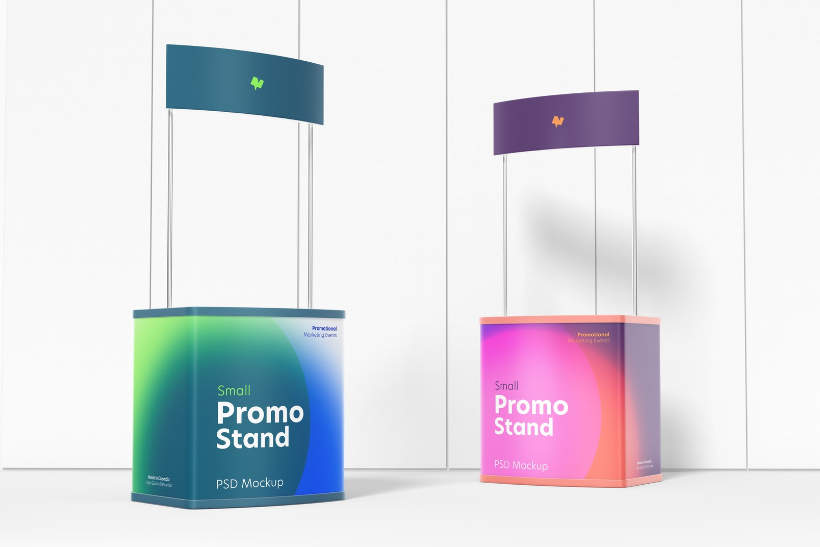 Small Promo Stands Mockup, Perspective