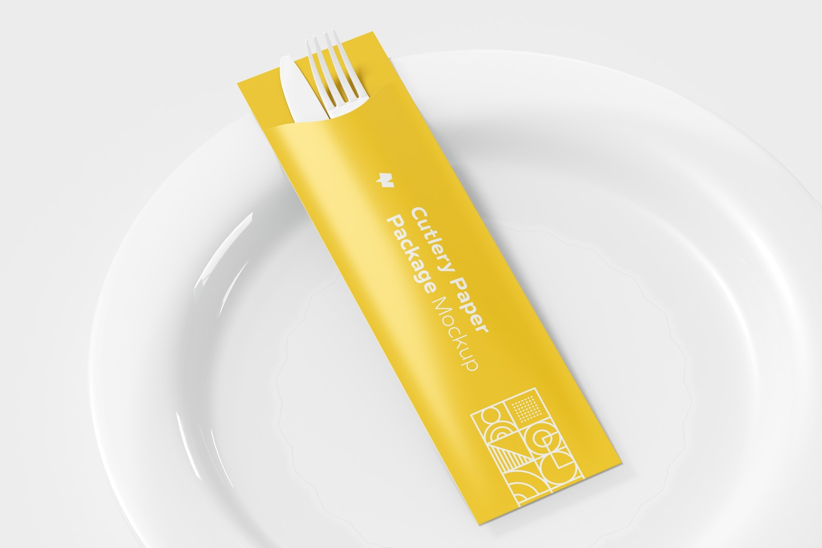 Cutlery Paper Package Mockup with Plate