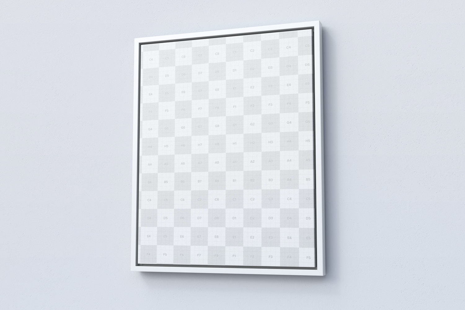 4:5 Portrait Canvas Mockup in Floater Frame, Right View