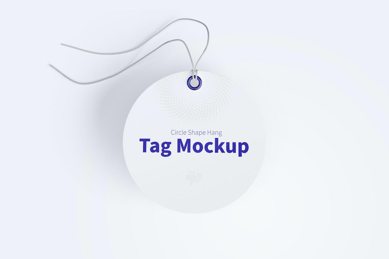 Circle Shape Hang Tag Mockup with String, Floating