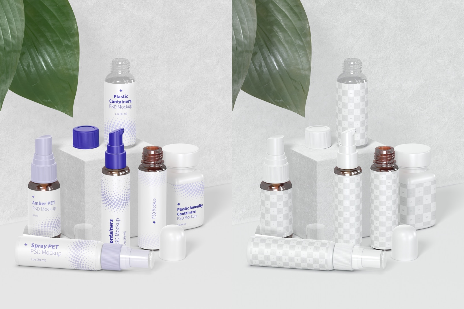 Plastic Amenity Containers Mockup