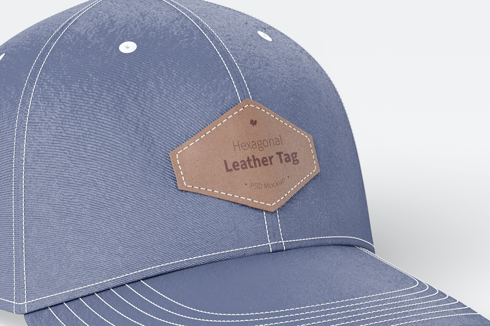 Hexagonal Leather Tags on Cap Mockup, Close Up