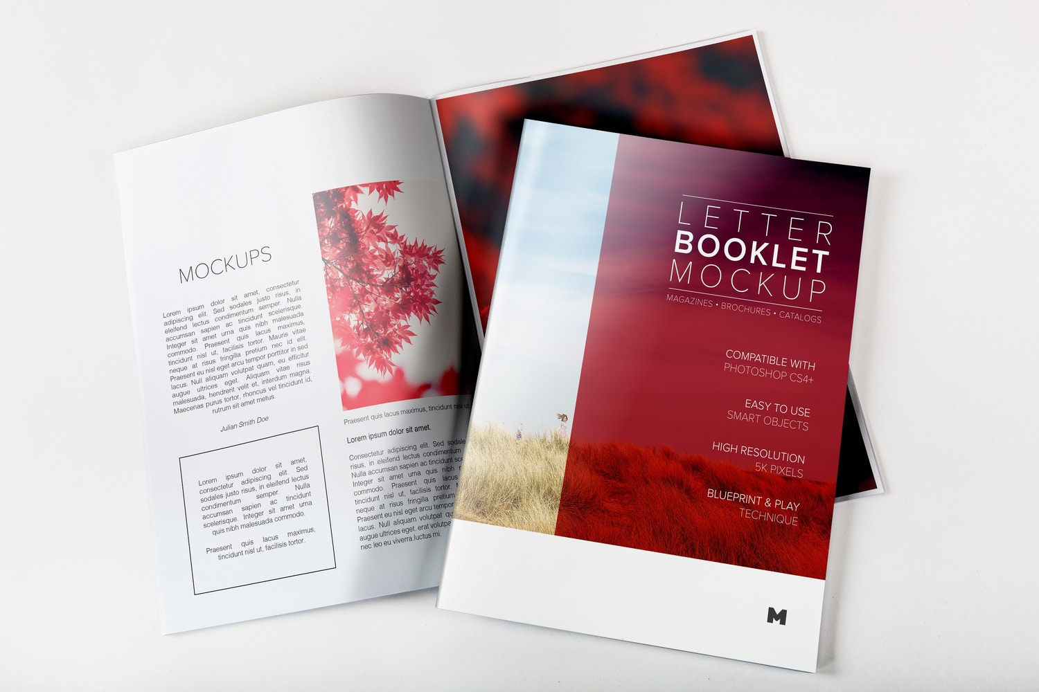 Letter Booklet Cover & Spread Mockup by Original Mockups on Original Mockups