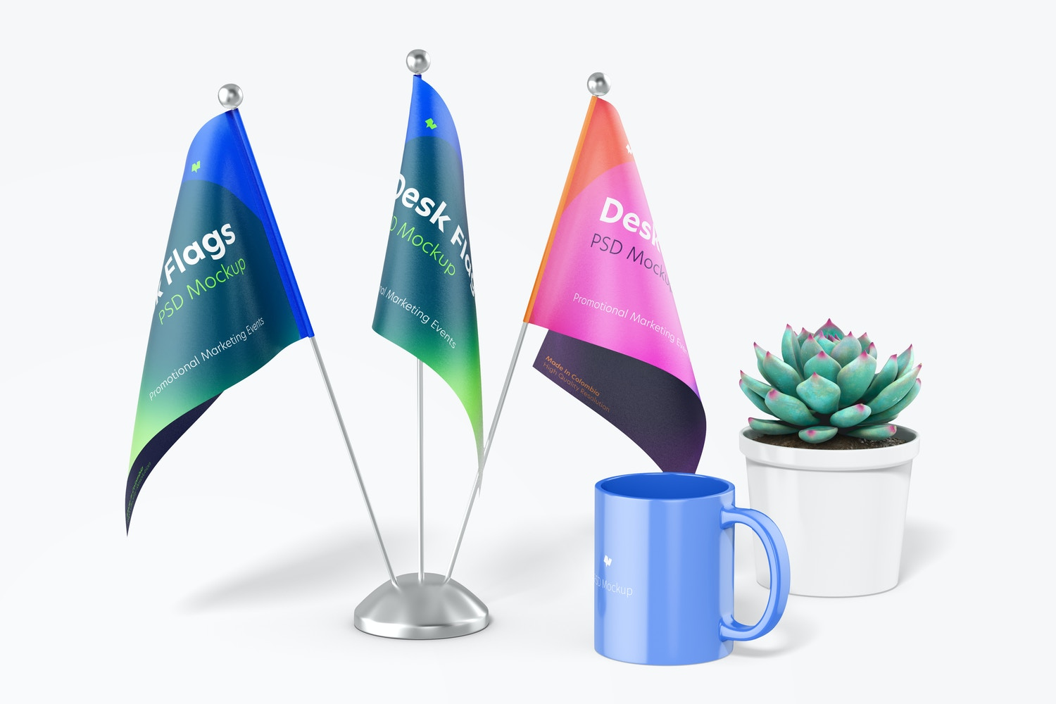 Desk Flags Mockup, Front View