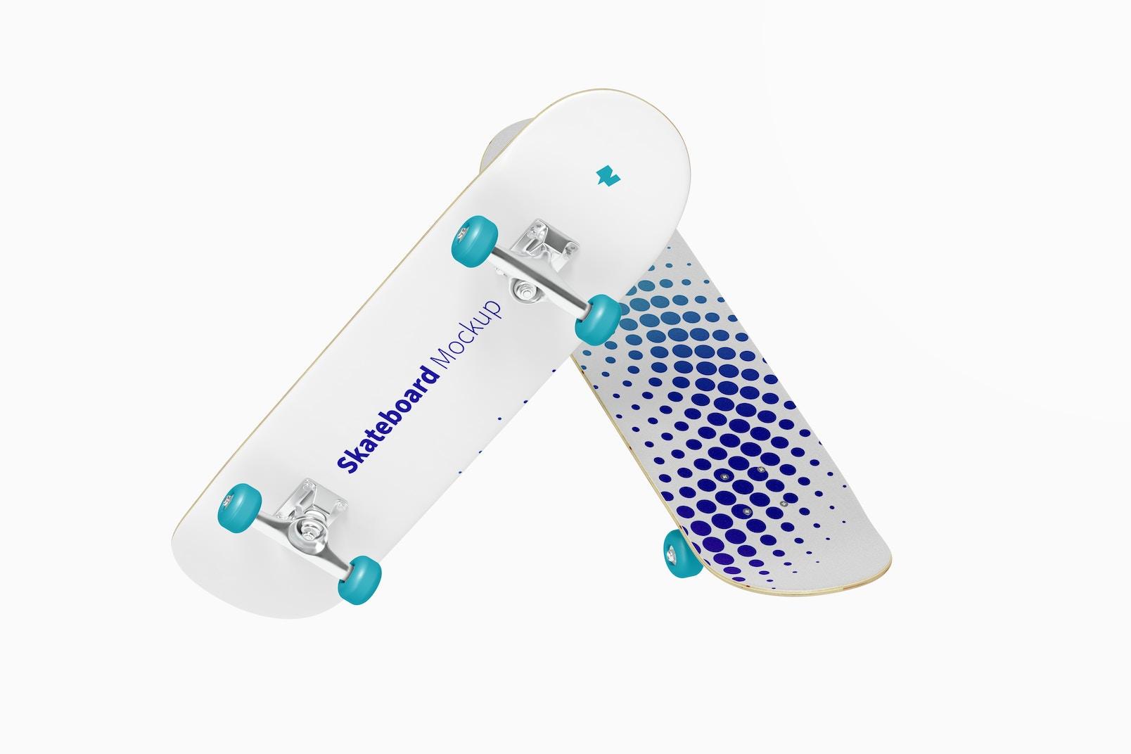 Skateboards Mockup, Floating