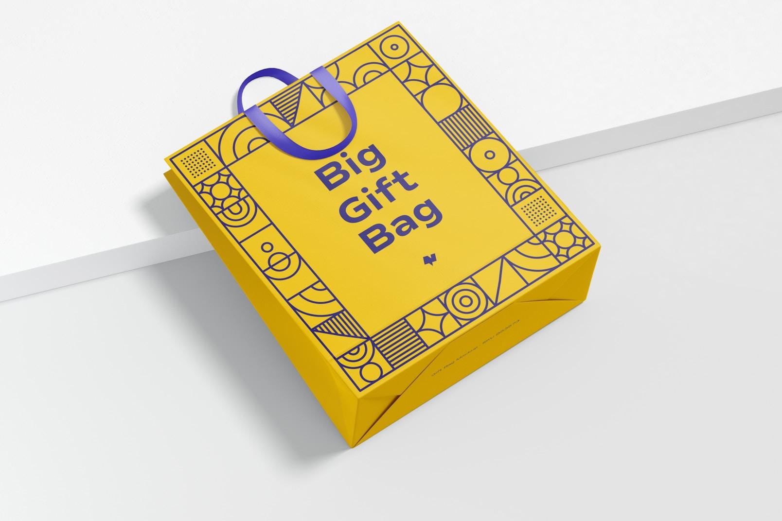 Big Gift Bag With Ribbon Handle Mockup, Top View