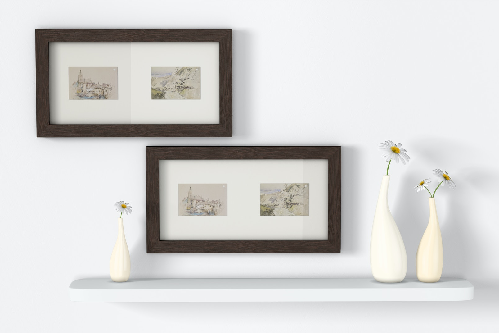 4:6 Multiple Photo Frames with Flower Pots Mockup