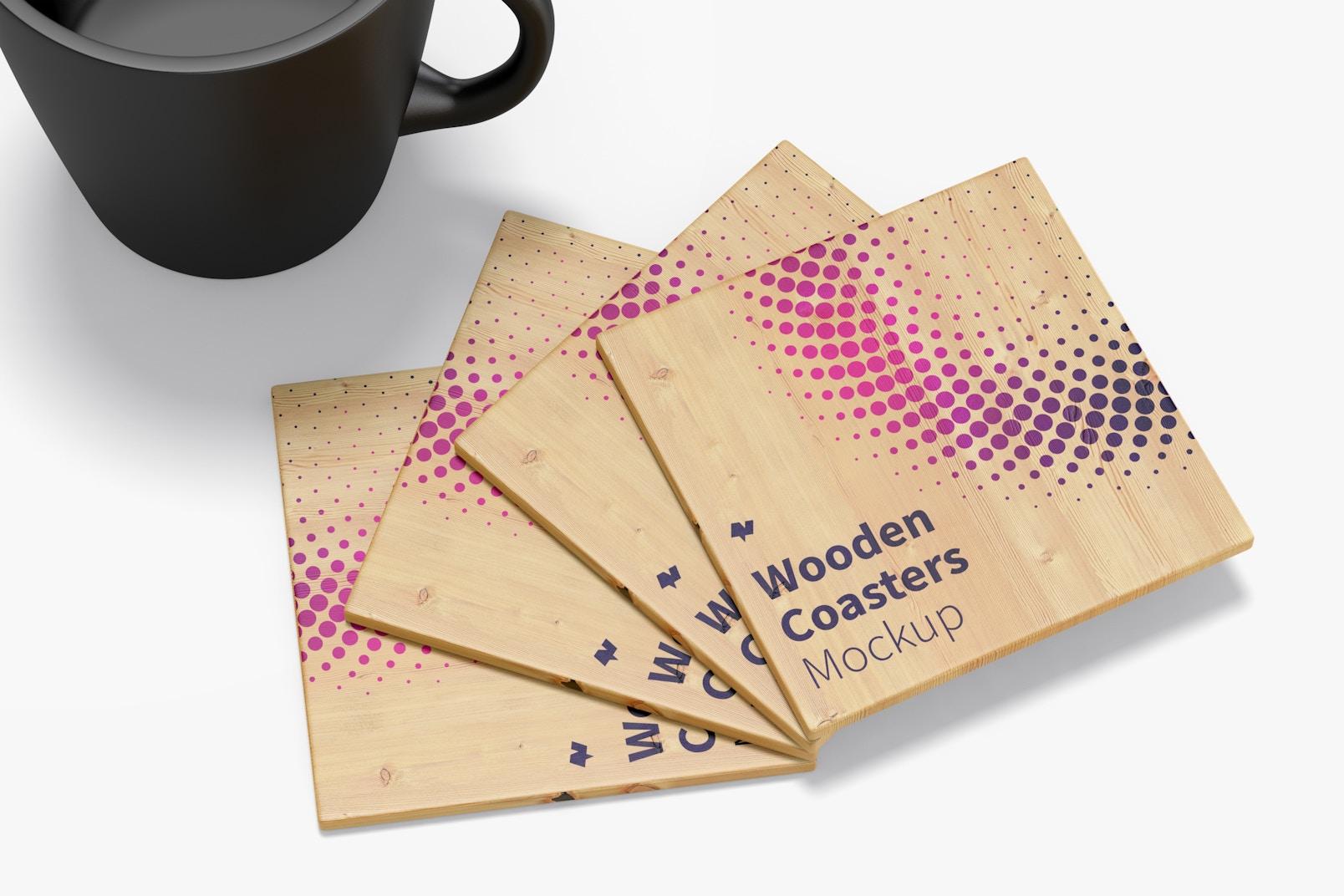 Wooden Coasters Mockup, Close-Up