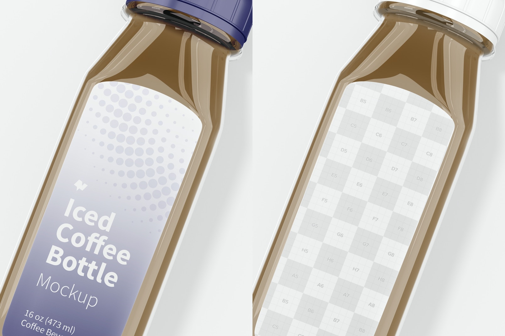Iced Coffee Glass Bottle Mockup, Close Up