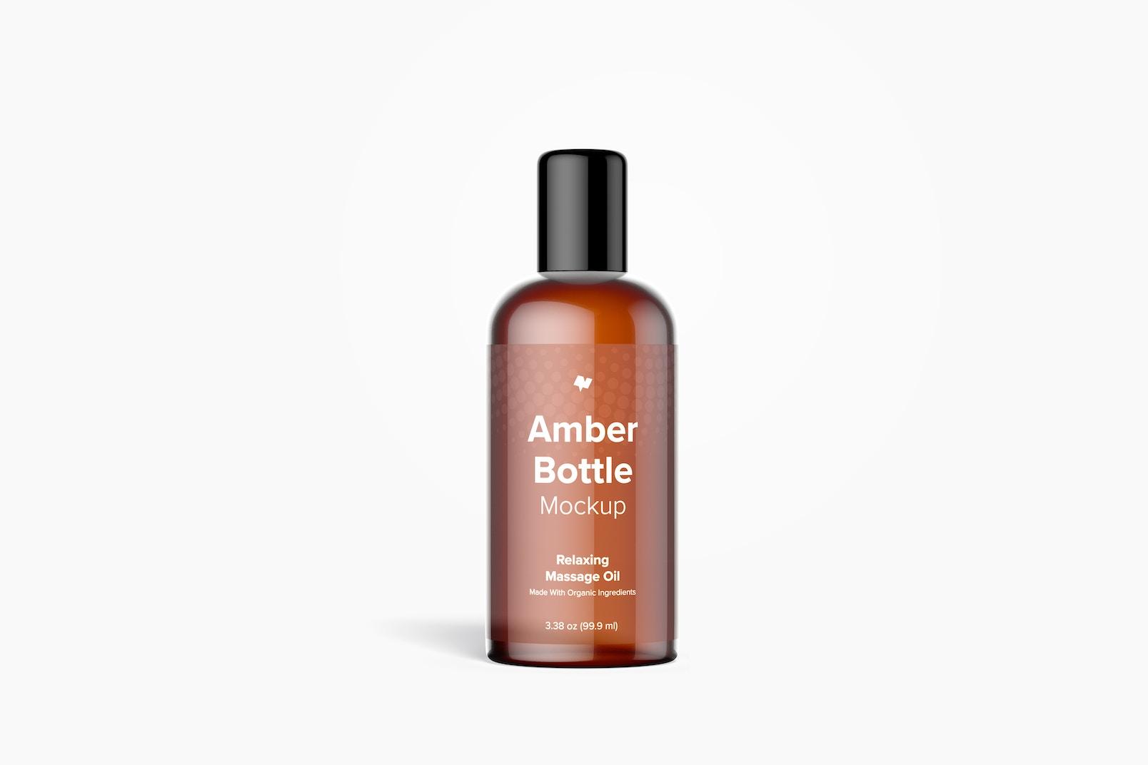 3.38 oz Amber Bottle Mockup, Front View