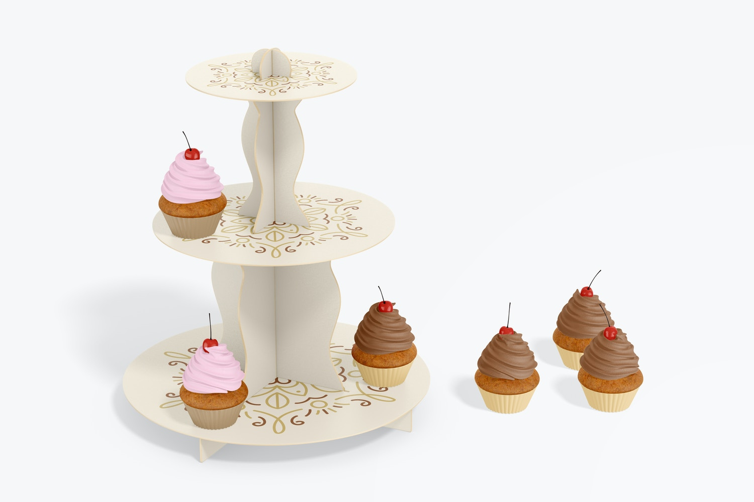 3-Tier Cardboard Cupcake Stand Mockup, Front View
