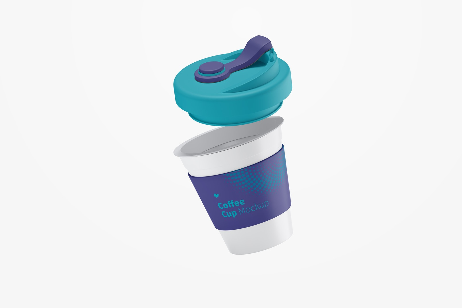 Coffee Cup with Lid Mockup, Falling