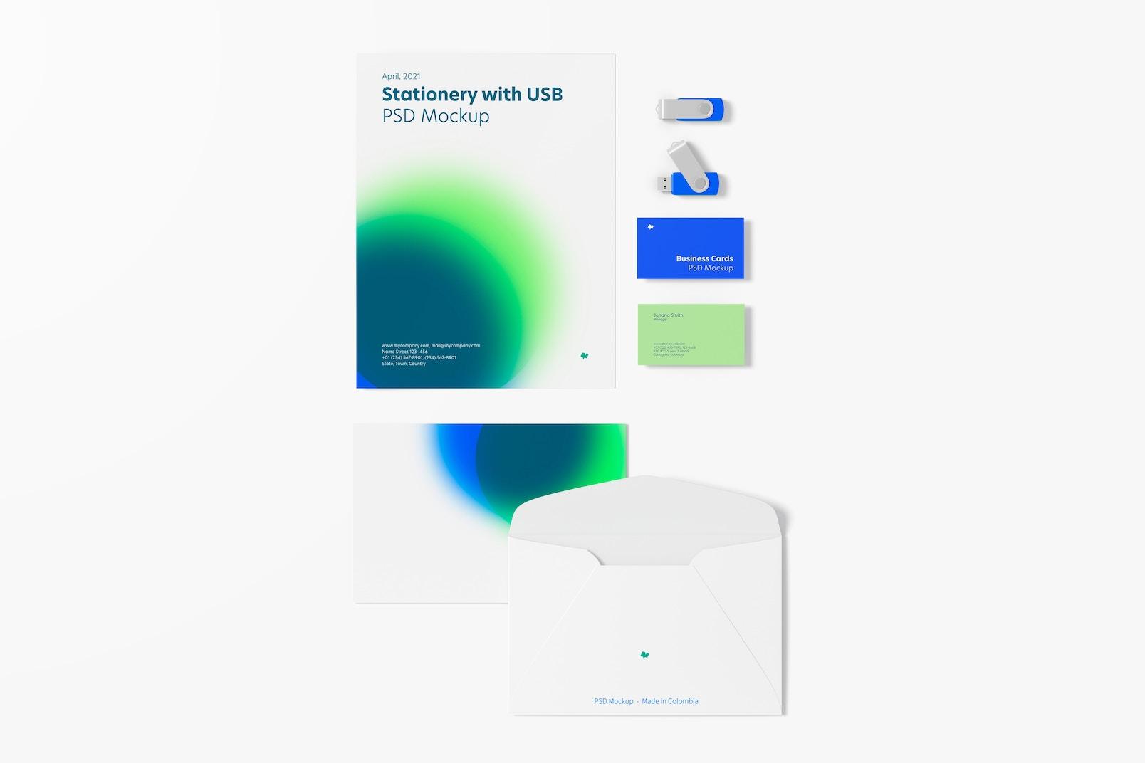 Maqueta de Papelería con Memorias USB, Vista Superior 02