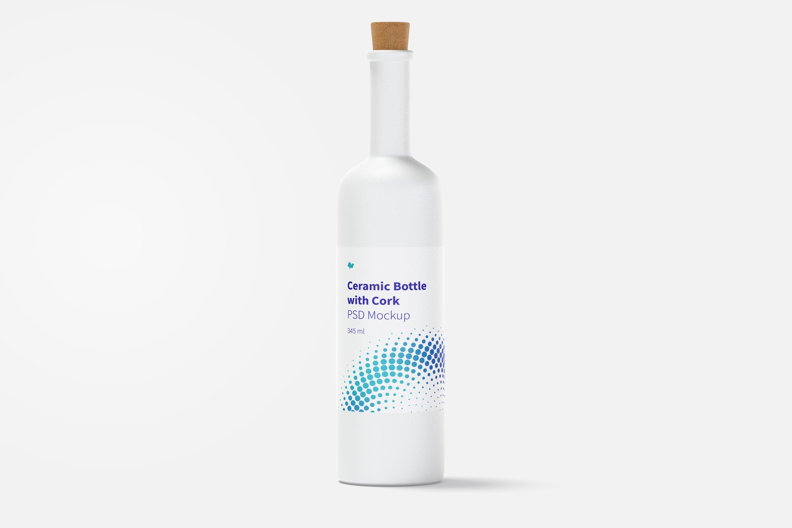 Long Neck Ceramic Bottle with Cork Mockup