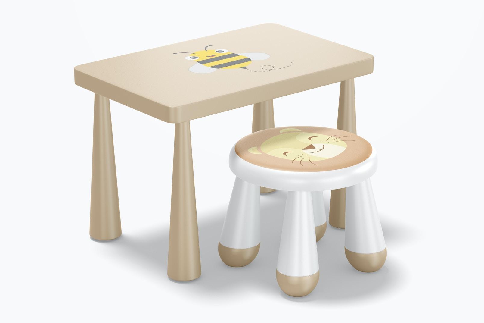 Kids Plastic Stool with Table Mockup
