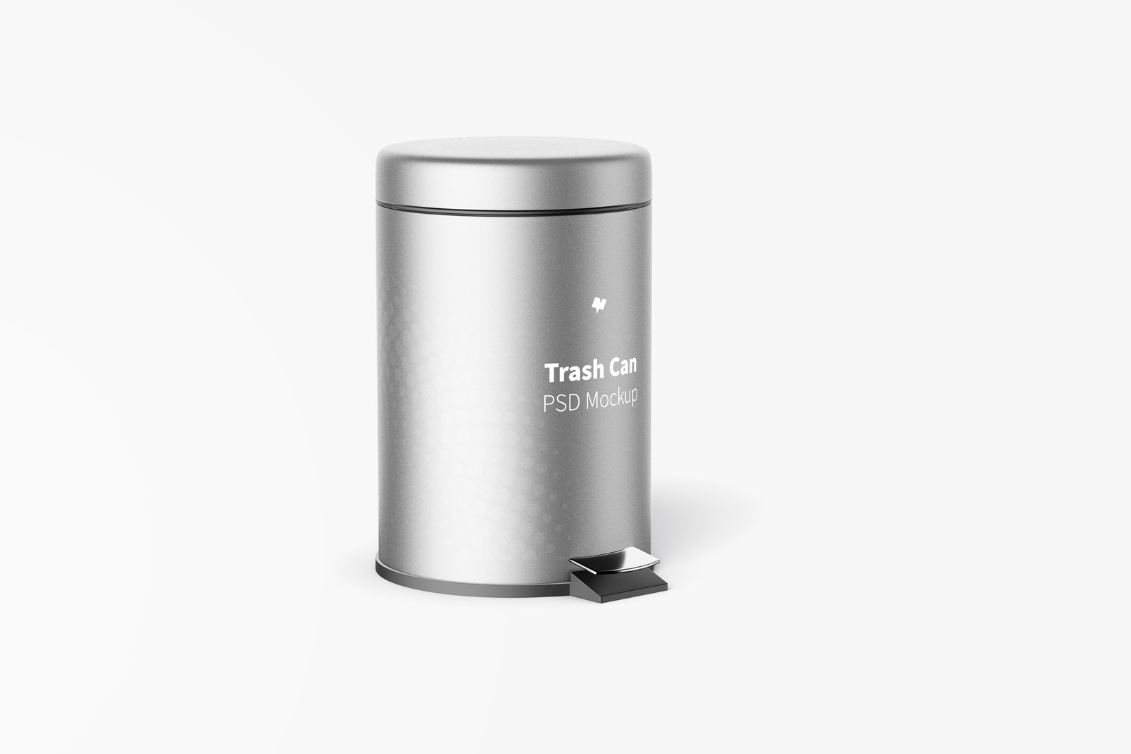 Trash Can With Foot Pedal Mockup, Right View