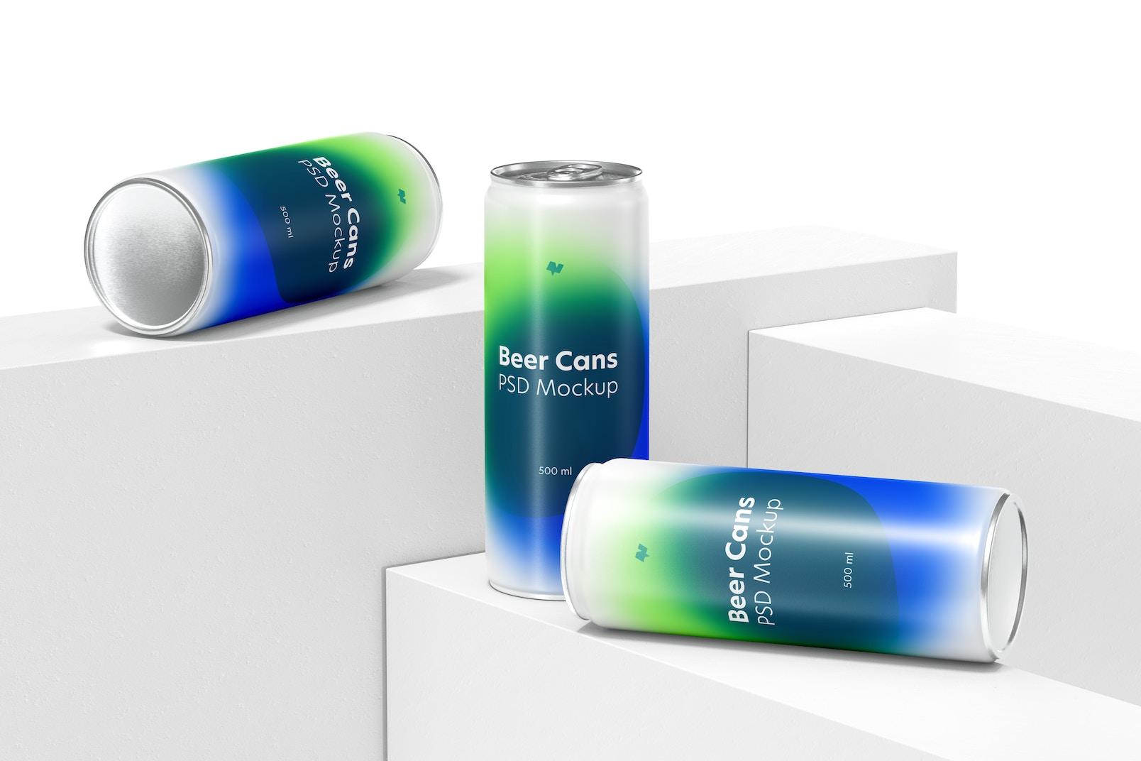 500ml Beer Cans Set Mockup