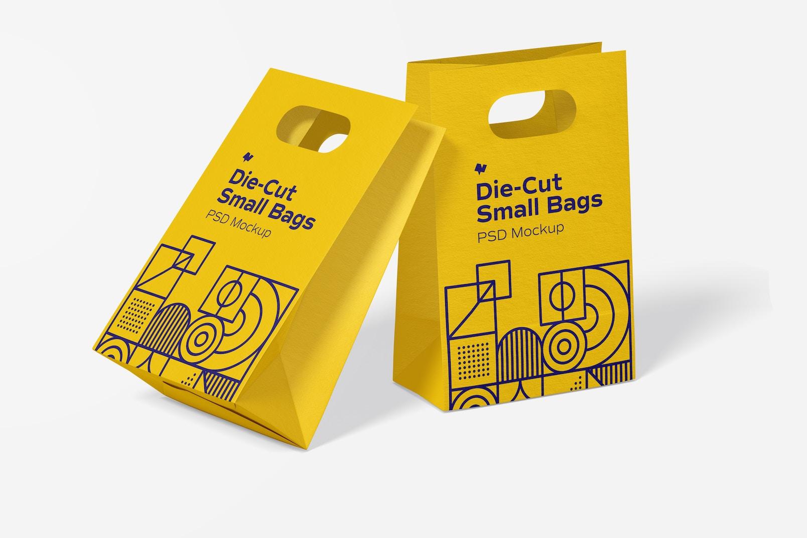 Die-Cut Small Paper Bags Mockup, Leaned