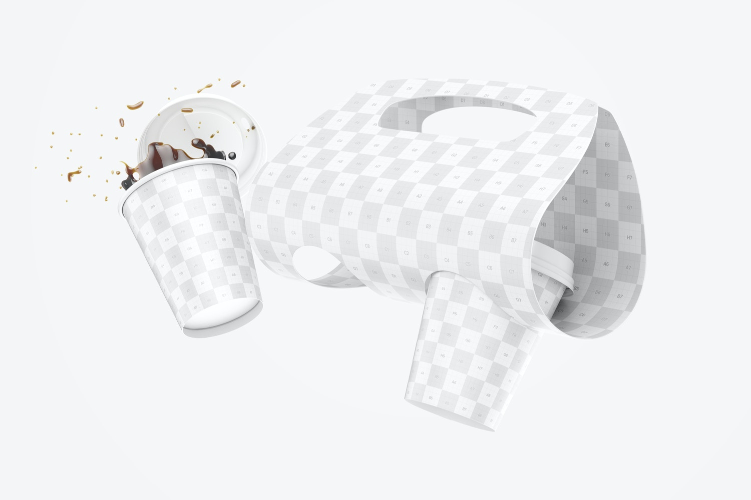 Coffee Cups with Holder Mockup, Floating