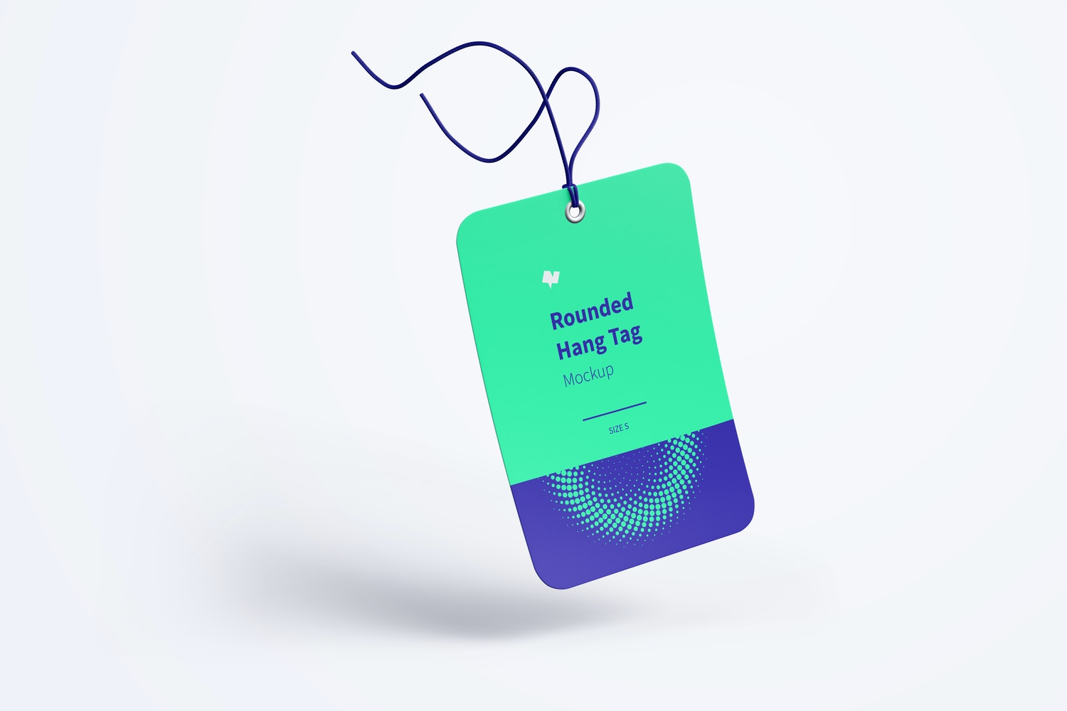 Rounded Hang Tag Mockup with String, Falling