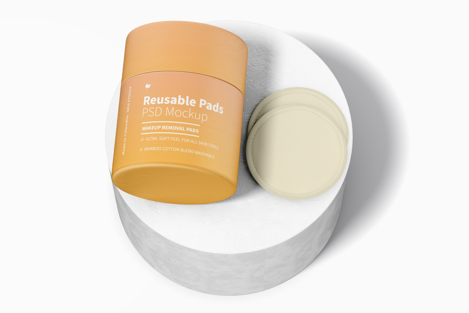 Reusable Pads Packaging Mockup, Perspective View