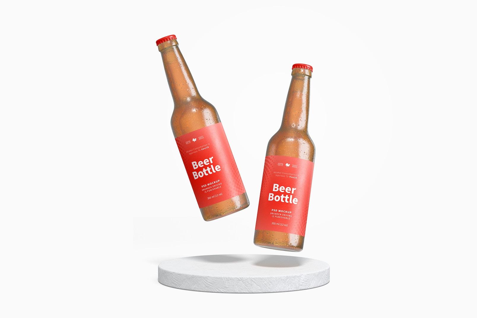 Beer Bottles Mockup, Falling