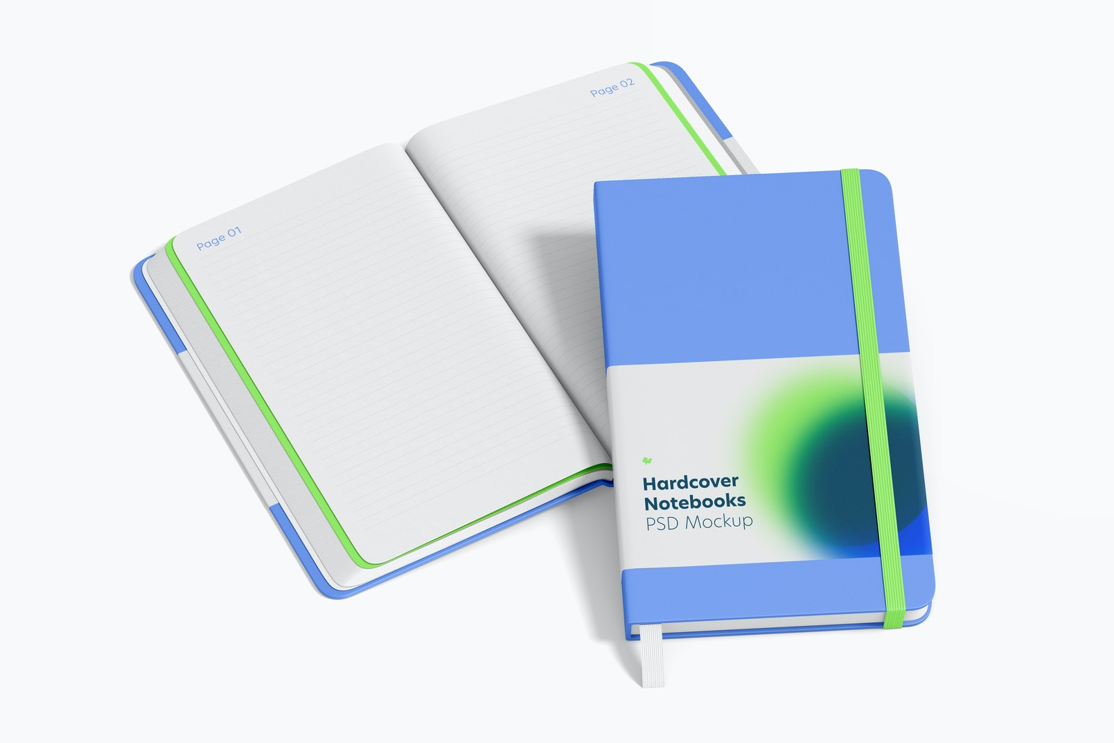 Hardcover Notebooks with Elastic Band Mockup, Opened and Closed