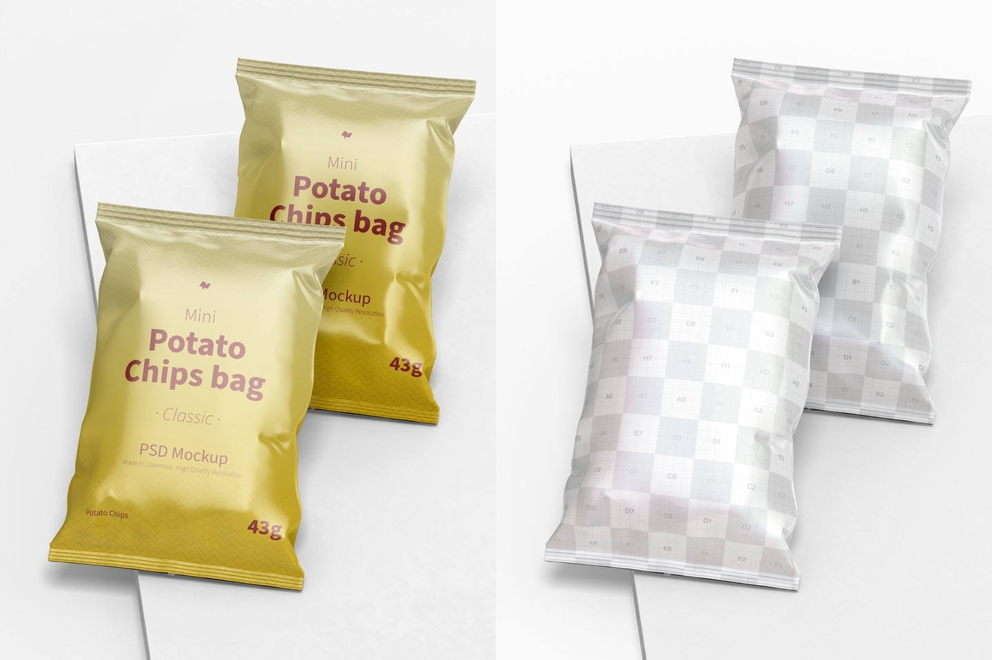 Glossy Mini Potato Chips Bags Mockup, Perspective View