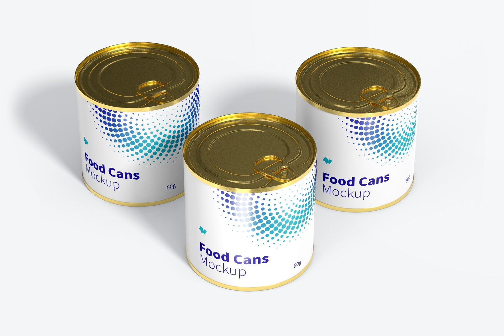 60g Food Cans Mockup, Perspective