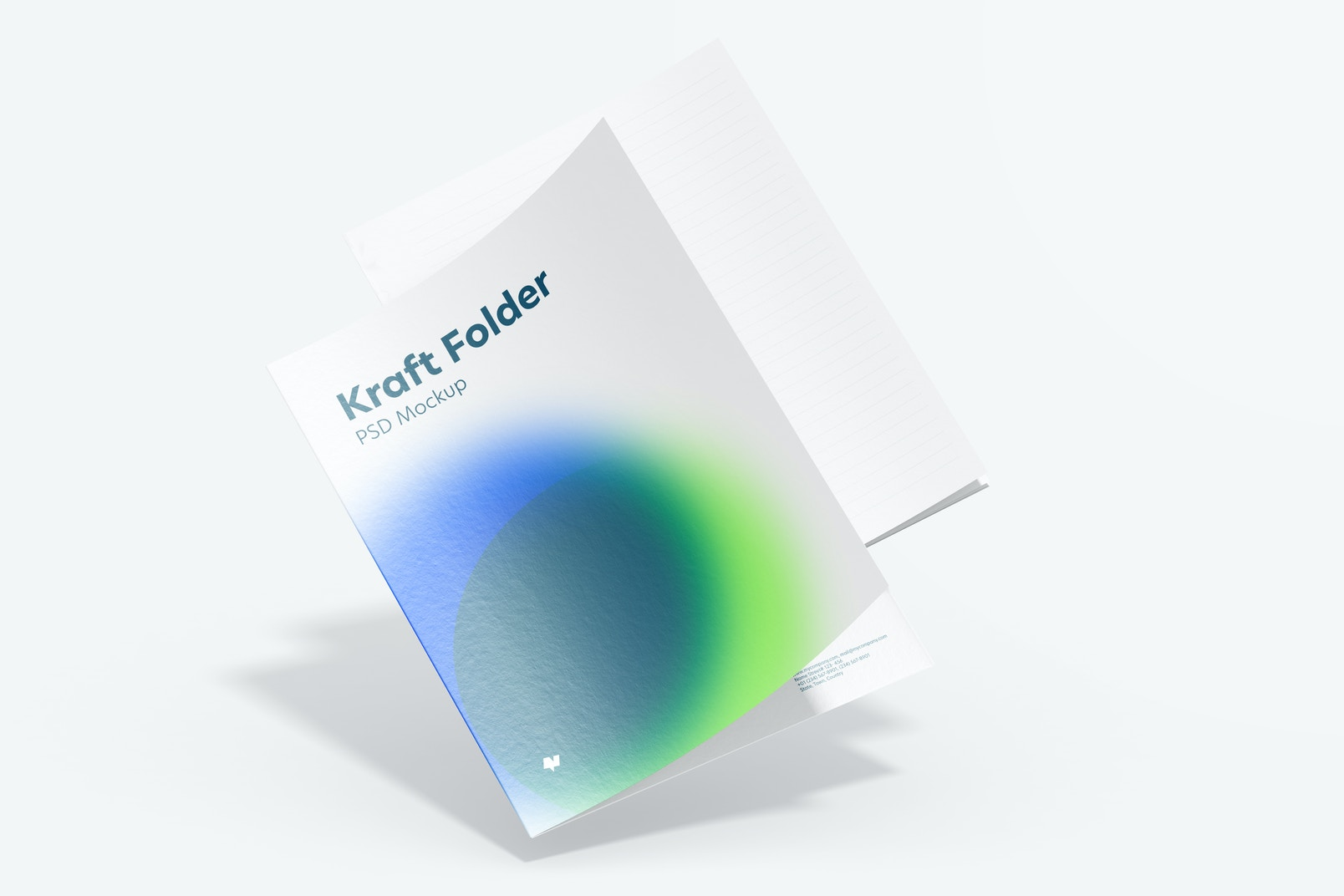 Maqueta de Folder de Kraft, Cayendo