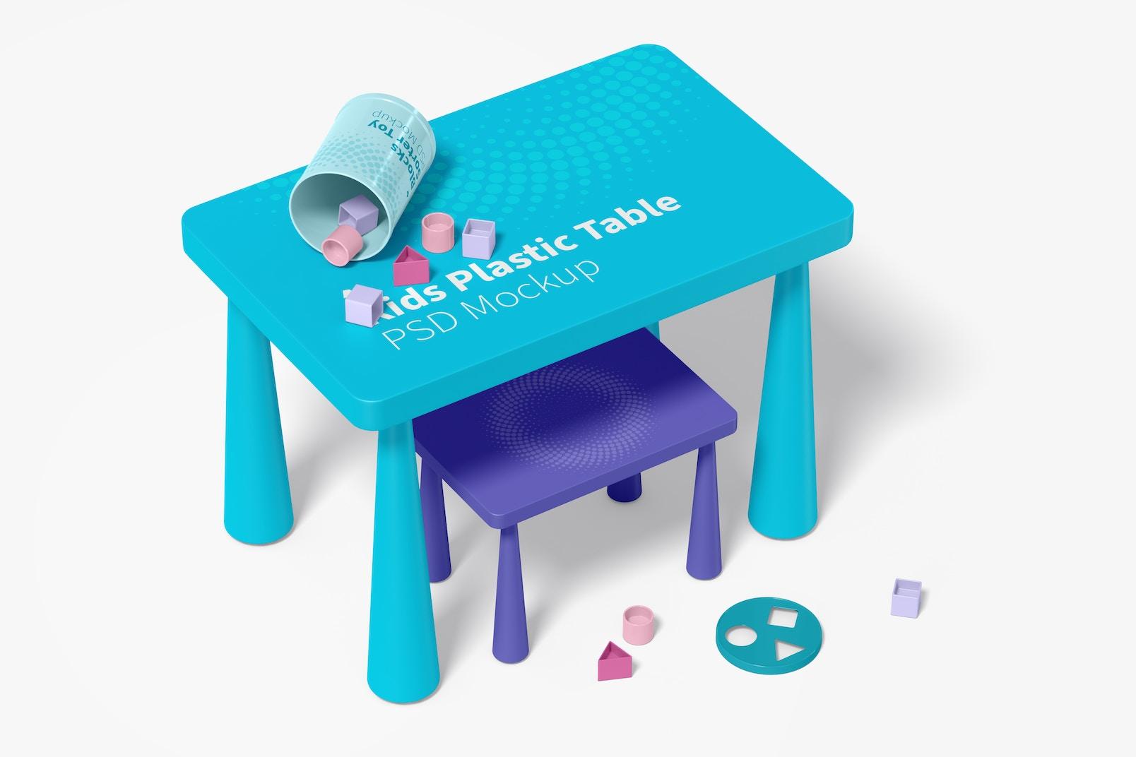 Kids Plastic Table Mockup