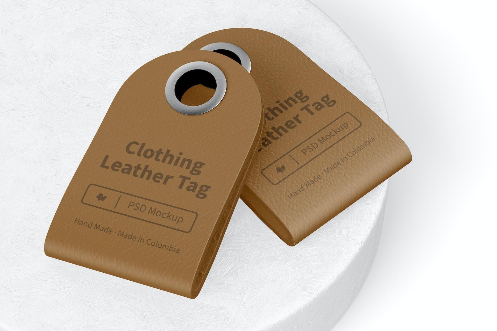 Maqueta de Etiqueta de Cuero para Ropa, Apilado