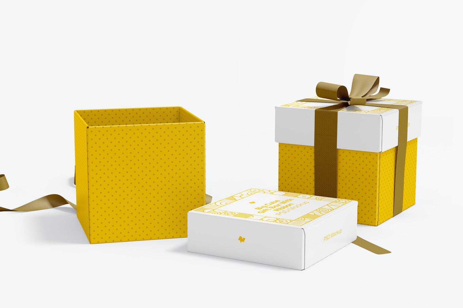 Maqueta de Cajas Cúbicas Grandes con Lazo, Abiertas y Cerradas