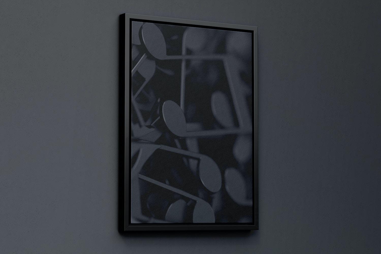 5:7 Portrait Canvas Mockup in Floater Frame, Left View