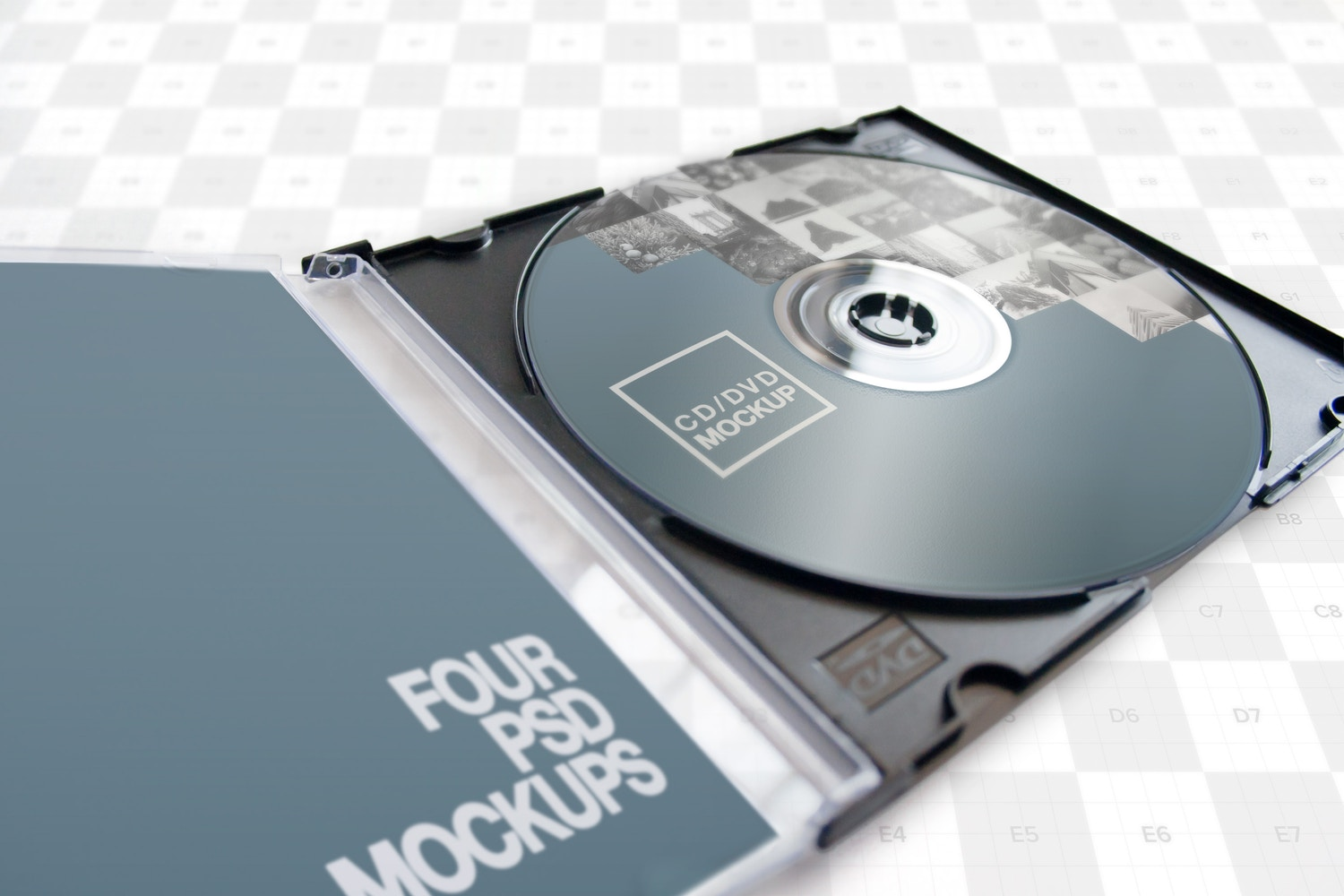 CD-DVD Jewel Case Opened Mockup 01 - Custom Background