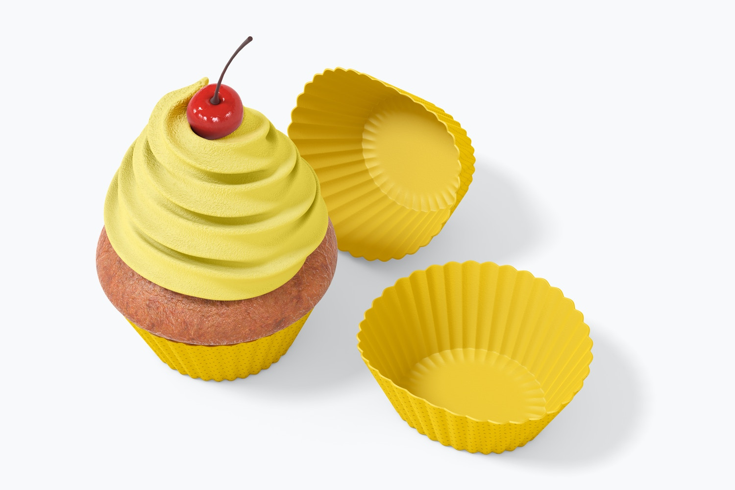 Cupcake with Silicone Baking Cup Mockup, Top View