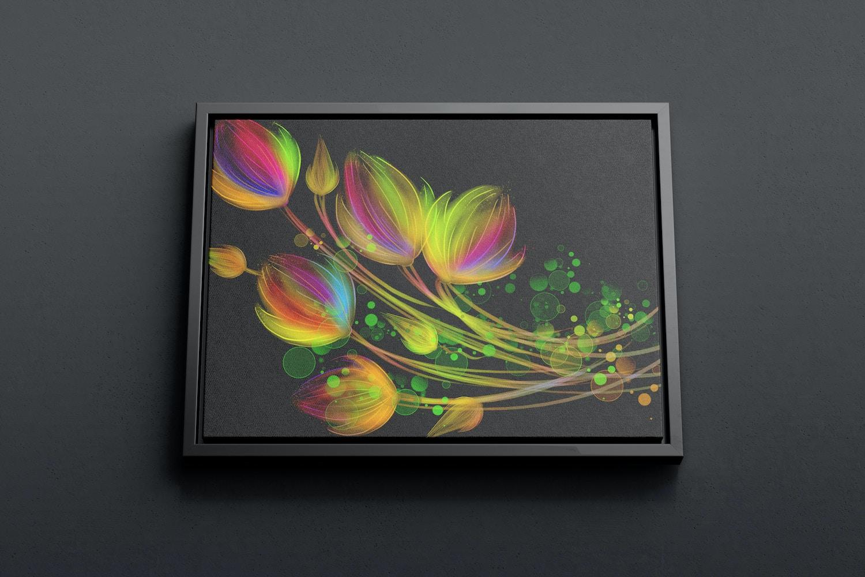 4:3 Landscape Canvas Mockup in Floater Frame, Bottom Front View