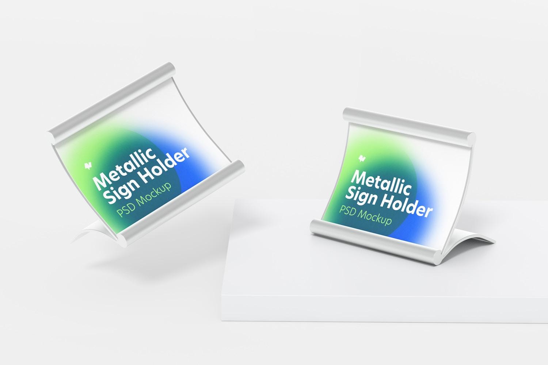 Metallic Table Sign Holders Mockup