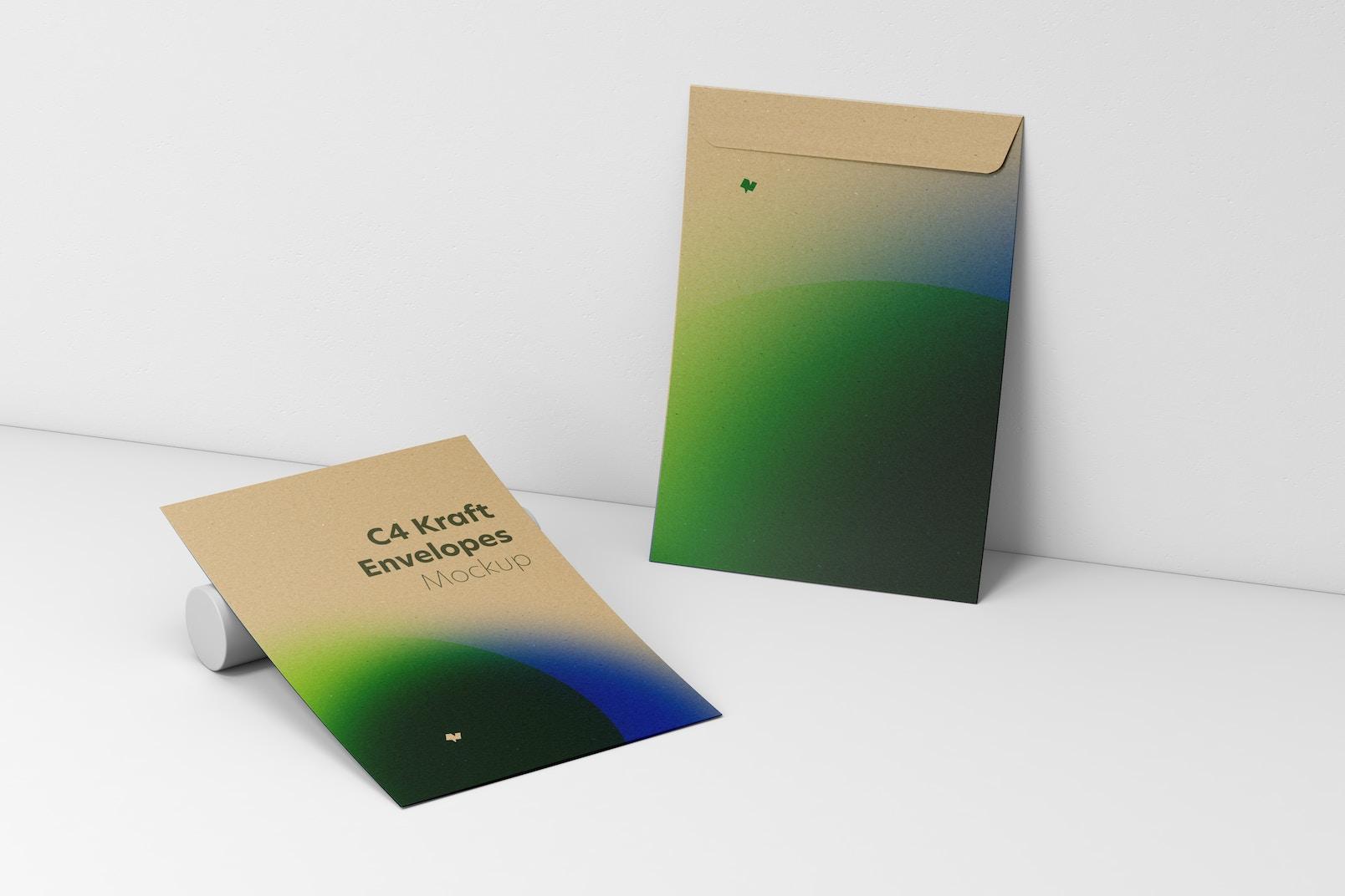 C4 Kraft Envelopes Mockup, Leaned