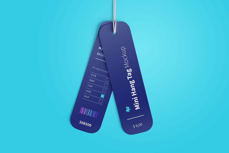 Mini Hang Tags Mockup with String