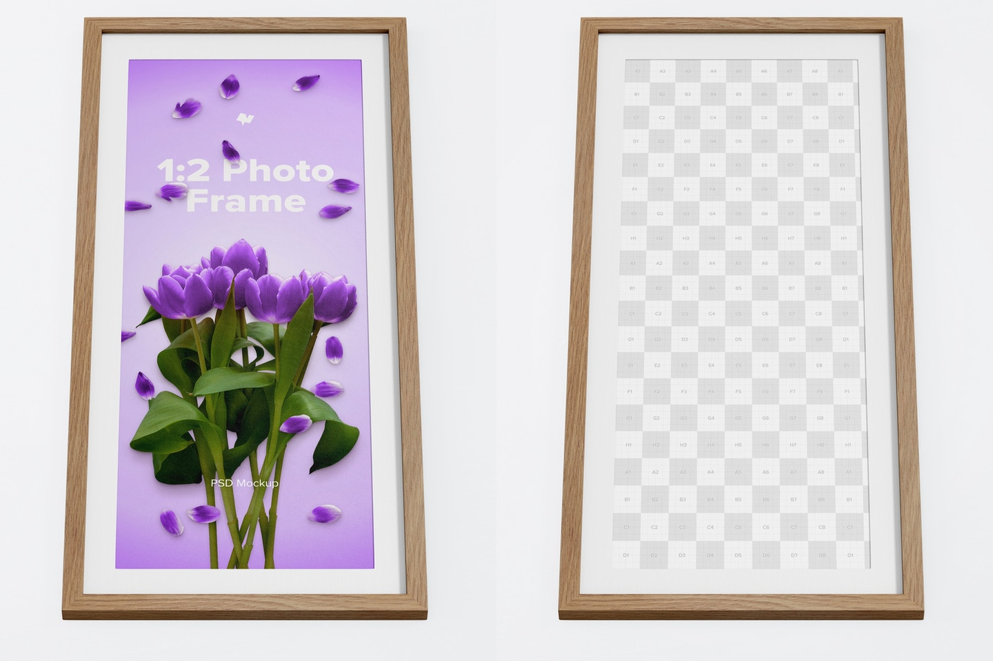 1:2 Photo Frame Mockup, Bottom Front View