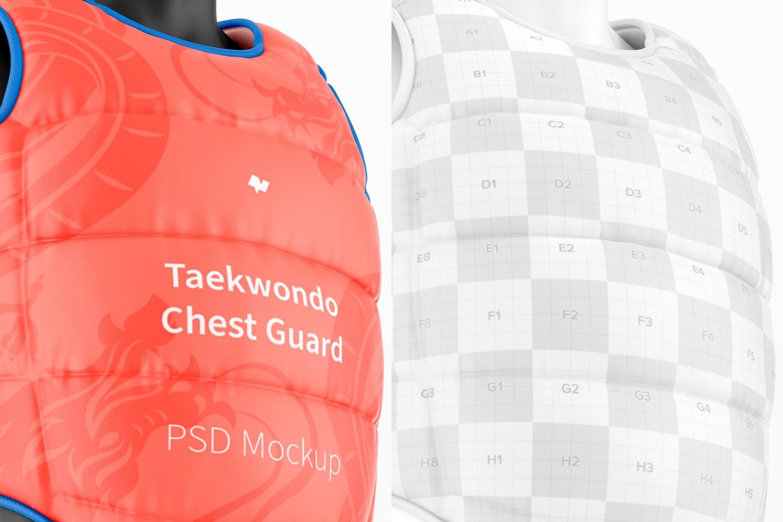Taekwondo Chest Guard Mockup, Close Up