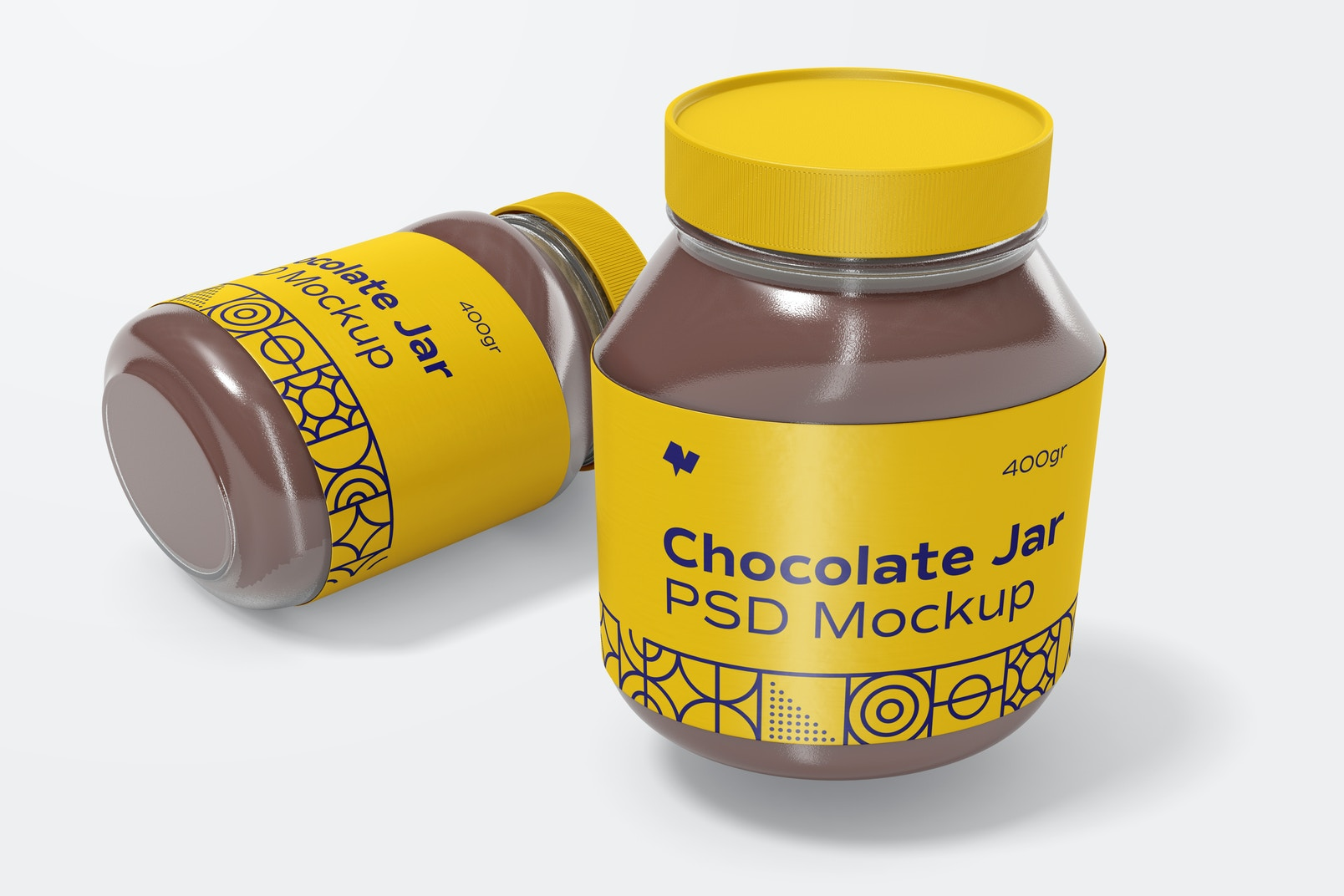 Chocolate Spread Jars Mockup, Dropped