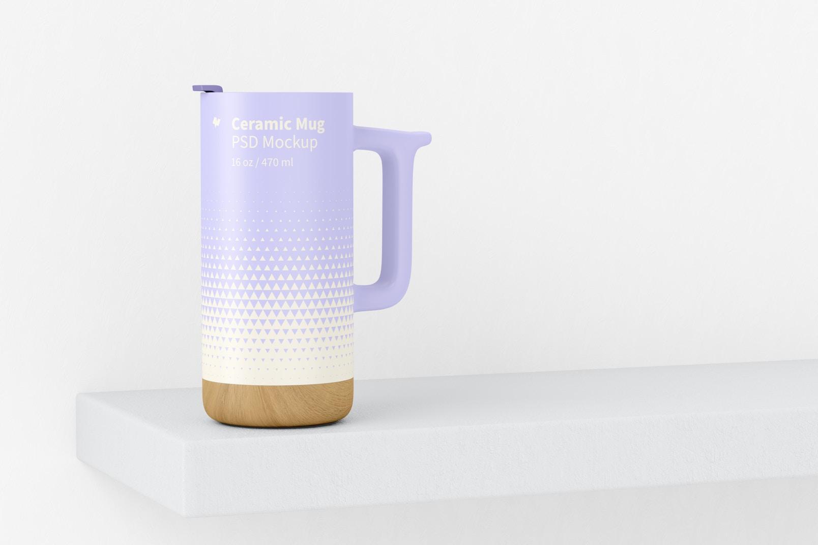 16 oz Ceramic Mug with Wood Base Mockup, Perspective