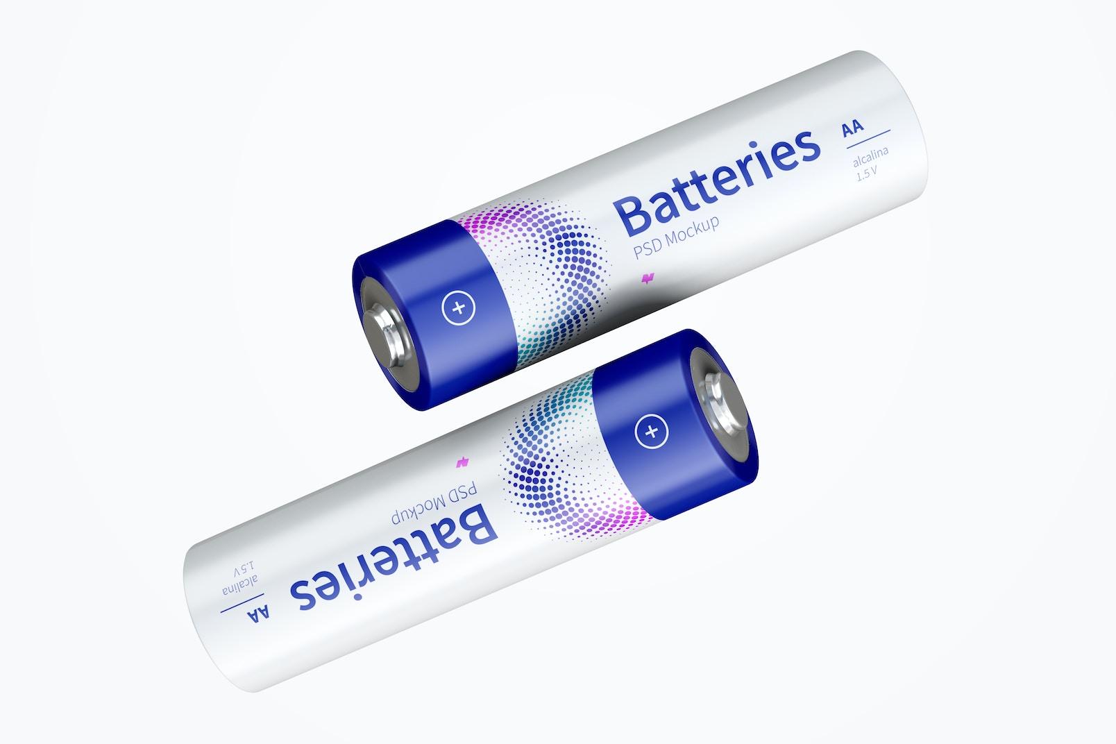 Two AA Batteries Mockup, Floating