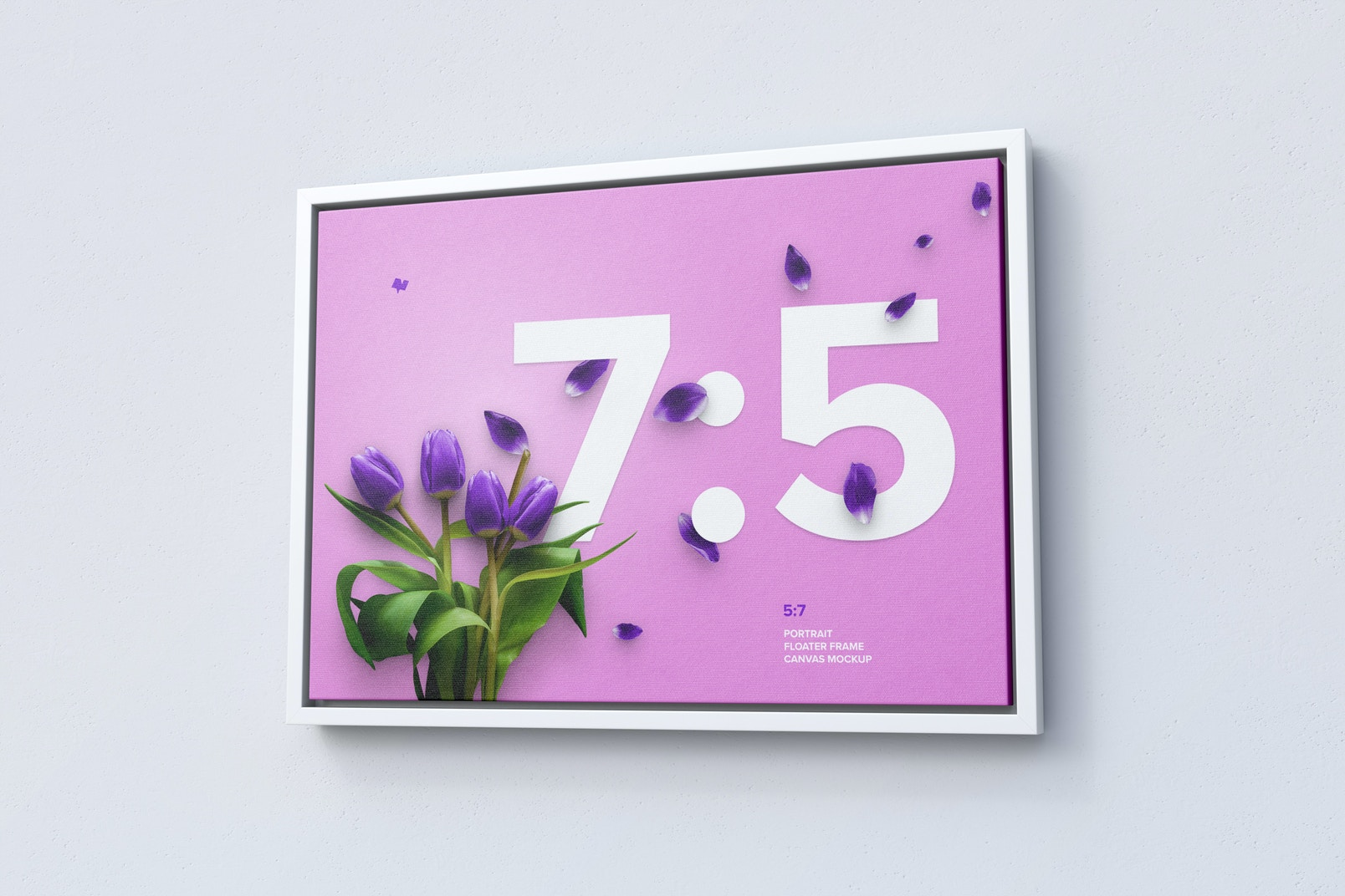 7:5 Landscape Canvas Mockup in Floater Frame, Right View