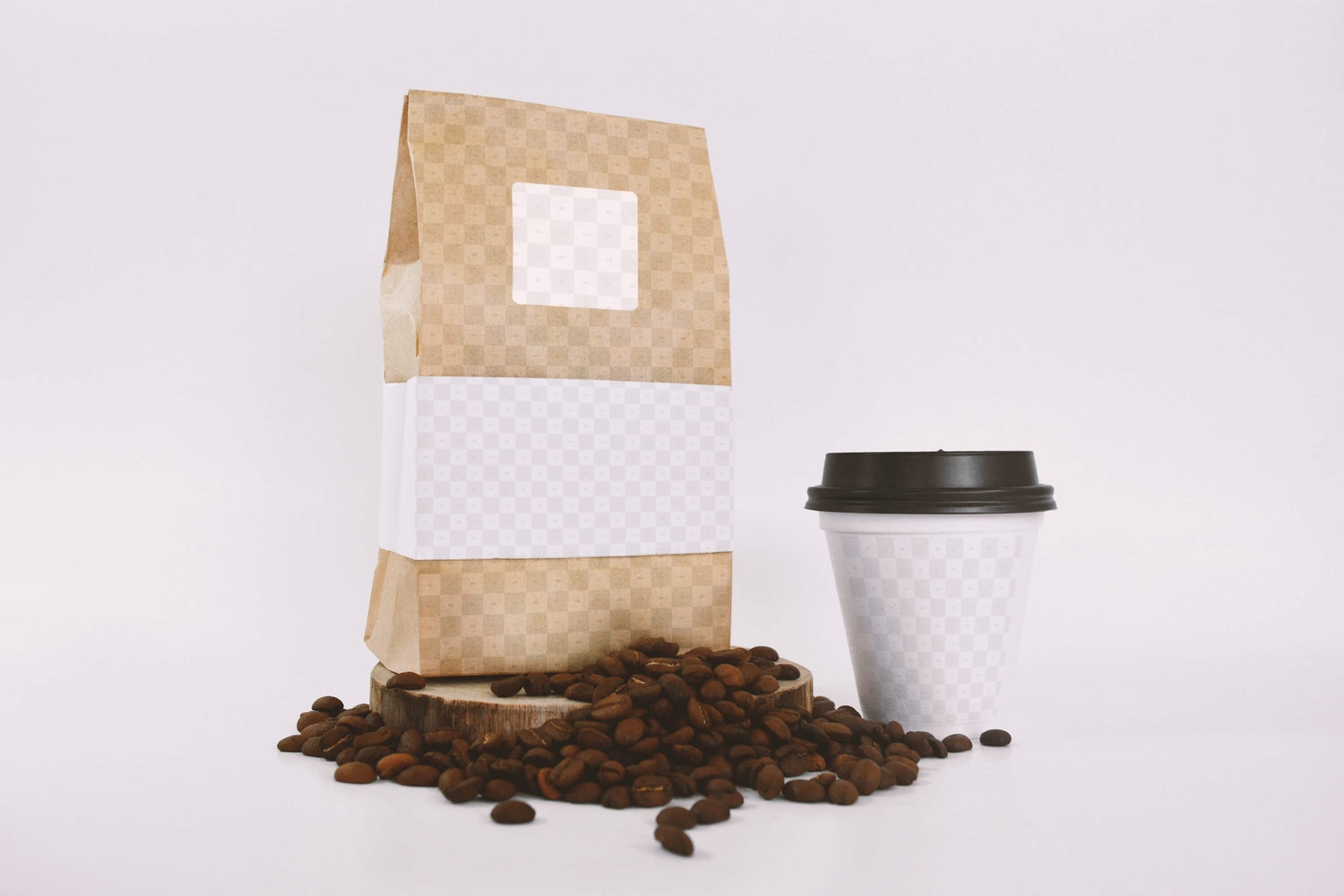 Coffee Bag and Sealed Cup Mockup