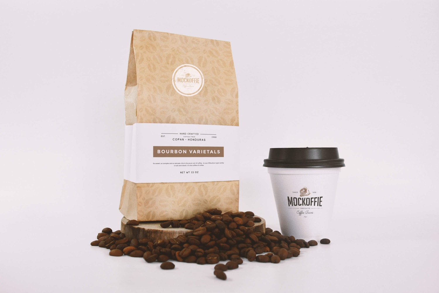 Coffee Bag and Sealed Cup Mockup (1) by Eduardo Mejia on Original Mockups