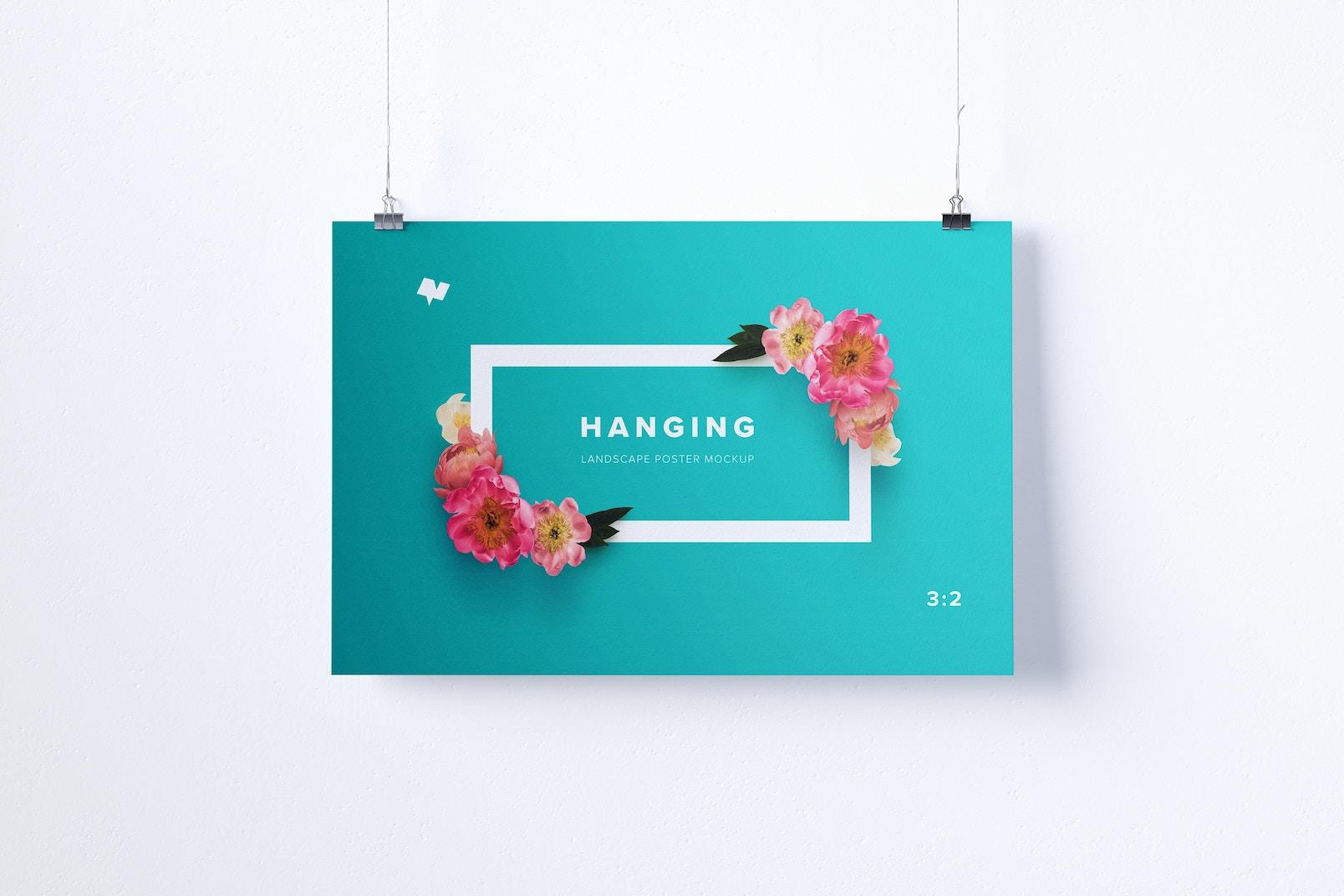 3:2 Landscape Hanging Poster Mockup