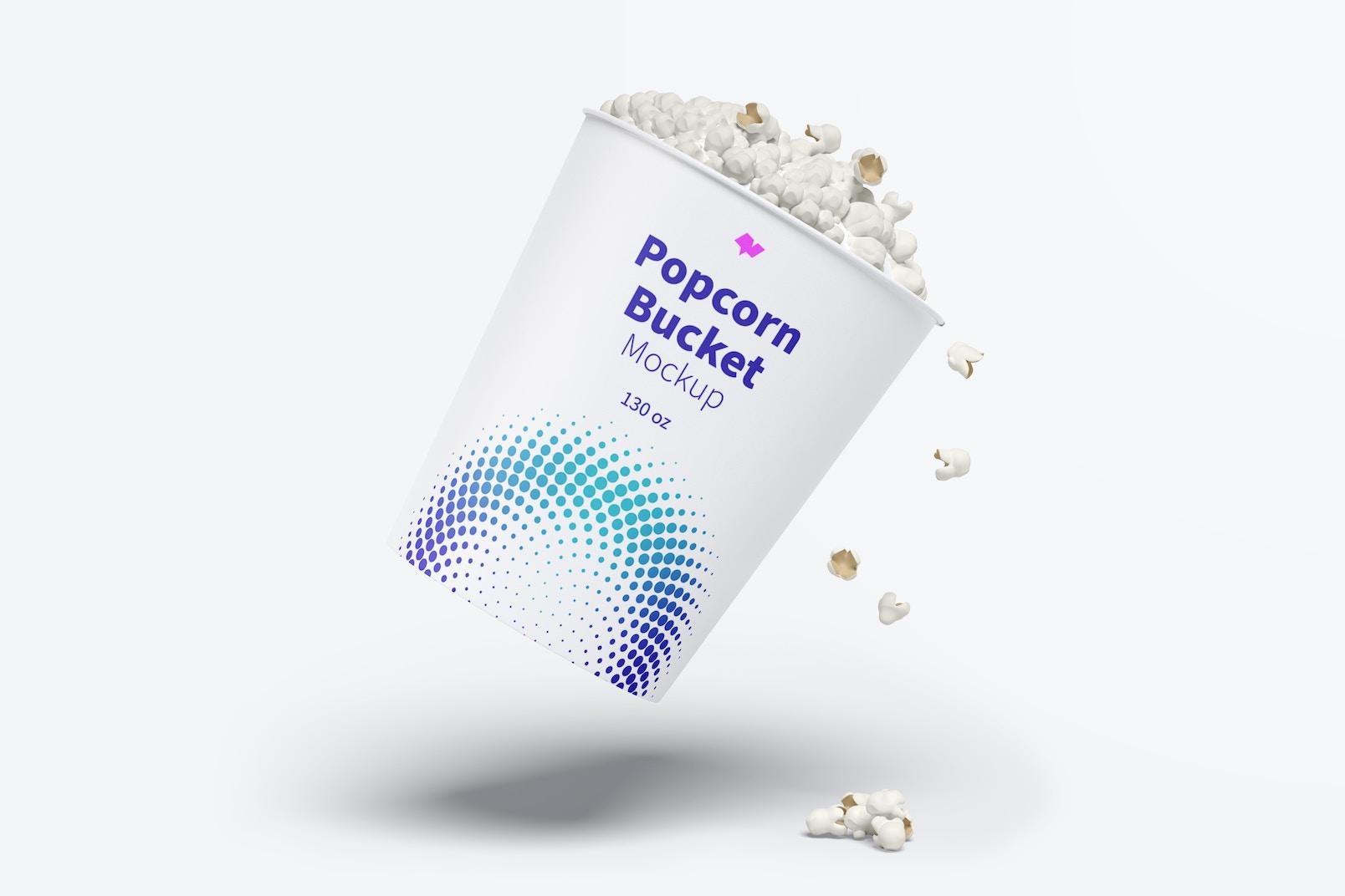 130 oz Popcorn Bucket Mockup, Floating